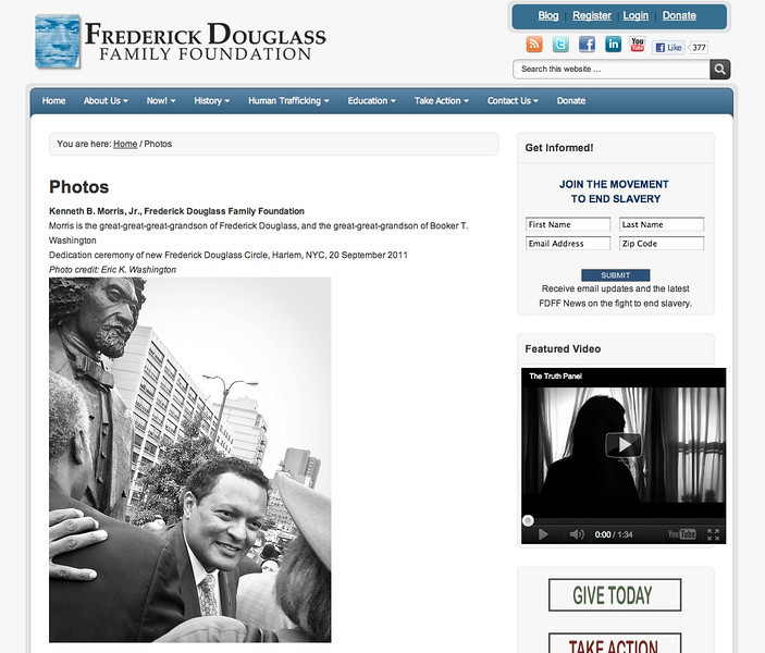 "FEATURED PHOTO: Photos page of the Frederick Douglass Family Foundation website. <a href=""http://www.fdff.org/photos.html"">http://www.fdff.org/photos.html</a><br /> <br /> Kenneth B. Morris, Jr., Frederick Douglass Family Foundation<br /> <br /> Morris is the great-great-great-grandson of Frederick Douglass, and the great-great-grandson of Booker T. Washington<br /> Dedication ceremony of new Frederick Douglass Circle, Harlem, NYC, 20 September 2011"