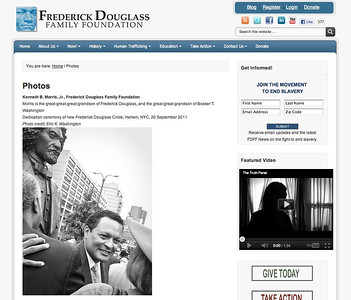 FEATURED PHOTO: Photos page of the Frederick Douglass Family Foundation website. http://www.fdff.org/photos.html  Kenneth B. Morris, Jr., Frederick Douglass Family Foundation  Morris is the great-great-great-grandson of Frederick Douglass, and the great-great-grandson of Booker T. Washington Dedication ceremony of new Frederick Douglass Circle, Harlem, NYC, 20 September 2011