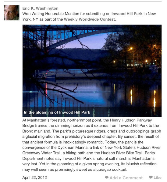 """Inwood Hill Park""<br /> Honorable Mention Writing<br /> Trazzler.com"