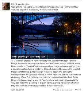 """""""Inwood Hill Park"""" Honorable Mention Writing Trazzler.com"""
