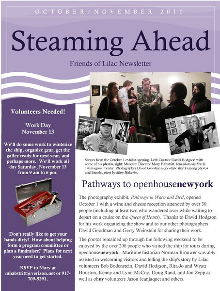 """FEATURED WORK: """"David Hodgson, photographer"""" and """"Mary Habstritt, Director, Lilac Steamboat Museum""""<br /> <br /> Steaming Ahead, Friends of Lilac Newsletter<br /> <br /> The two black-and-white portraits appear in the October/November 2010 issue of Steaming Ahead, the newsletter of the Friends of Lilac preservation advocacy group. They accompany a feature article about the photography exhibit, """"Pathways in Water and Steel,"""" that was mounted aboard New York City's historic Lilac steamboat in its Hudson River dock at Pier 40."""