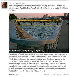 """""""West Harlem Piers Park"""" Honorable Mention Writing Honorable Mention Photography Trazzler.com"""
