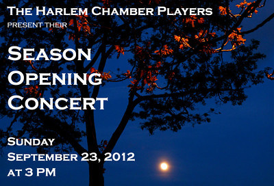 """FEATURED PHOTO: """"Moon over Sugar Hill, Harlem,"""" promotional poster for the Music at St. Mary's-Harlem Chamber Players, Season Opening Concert, Sunday, September 23, 2012."""