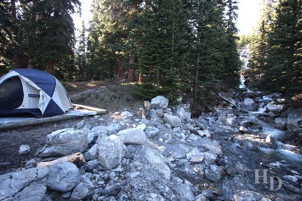 I don't normally take pictures of the campsite, but this one was really nice with the waterfall on one side.