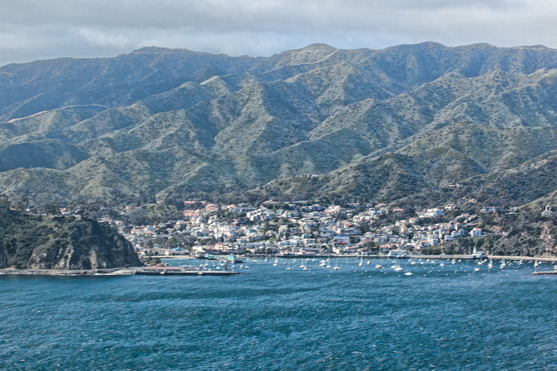 Our view inside the helicopter of Avalon, the only city on Catalina, as we prepare to land. Our next 4 days will take us in the mountains you see in the background.