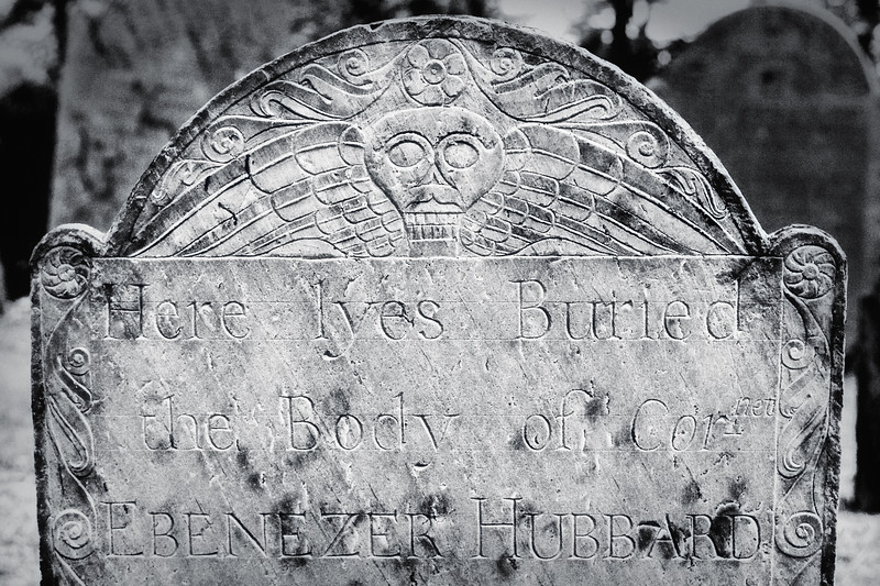 New England Funerary Art: Winged Soul Effigy and Skull,Ebeneezer Hubbard Tombstone, c. 1788. Old Burial Ground Hill, Concord, Middlesex County, Massachusetts