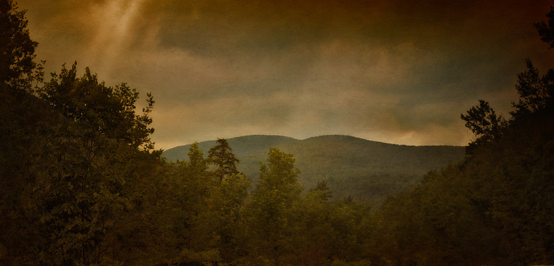 Catskill Landscapes: Entering The Catskills. Catskill Mountains, Ulster County,  The Rip Van Winkle Trail, outside Palenville, New York