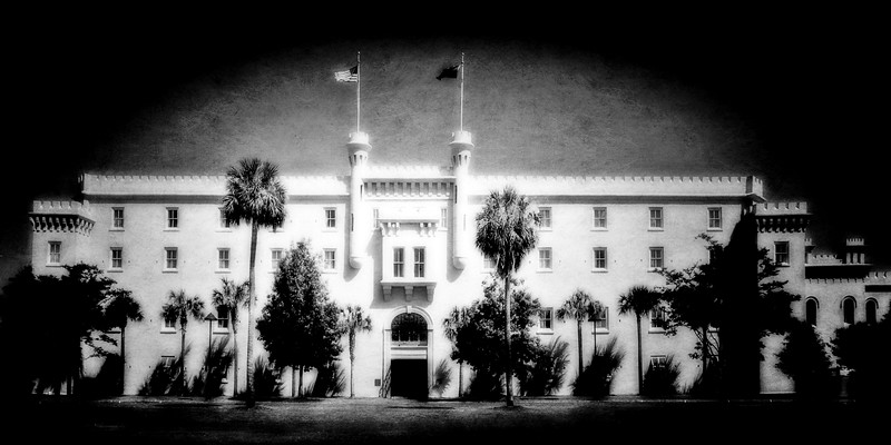 Charleston Architecture: Black and White Image of the South Carolina State Arsenal, The Old Citadel, c. 1840 Charleston, South Carolina