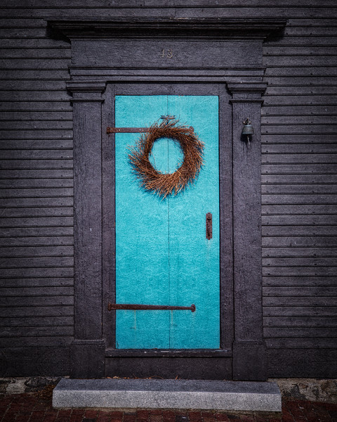 Colonial Era Architecture: Front Door with Wreath Built by Penn Townsand, Mariner, 1771, Salem, Essex County, Massachusetts