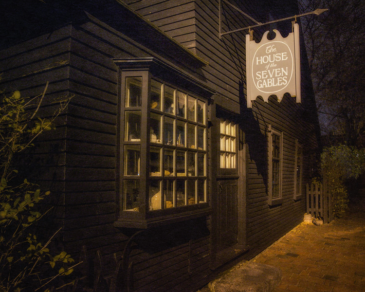 Colonial Era Architecture: Exterior of the Cent Shop of Hepzibah Pincheon at the House of the Seven Gables (Turner-Ingersoll Mansion) at Night, 1668. Salem, Essex County, Massachusetts