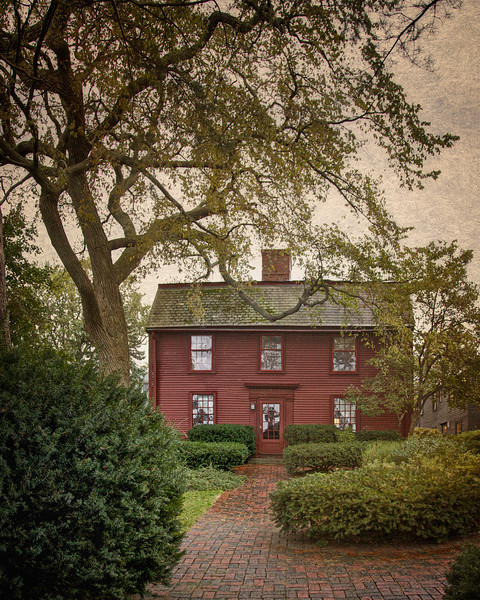 Literary Landmarks: Front View of The Nathaniel Hawthorne House, Nathaniel Hawthorne's Birthplace, c. 1750, The House of Seven Gables National Historic Landmark District, , Salem, Essex County, Massachusetts