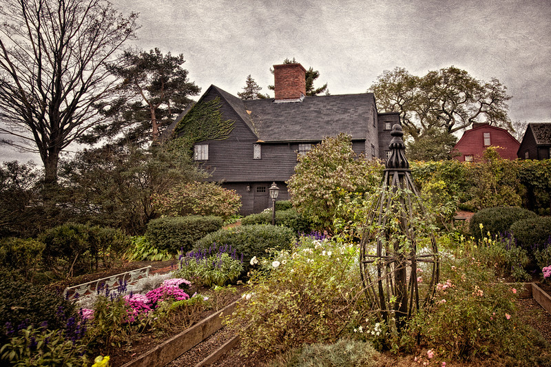Colonial Era Architecture: Garden at The House of Seven Gables, c. 1668, Turner-Ingersoll Mansion, Salem, Essex County, Massachusetts