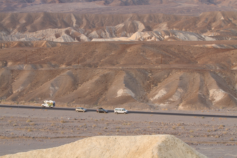 Our cars from Zabriskie Point and the origin of our hike up the mountain.