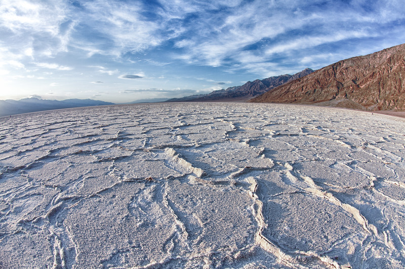 We started our trip in Death Valley to shoot evening shoots at what is called Badwater. The above is pure salt. The formations are caused by heavy rains washing the salt into these polygrams. Why the formations are constant is unknown. This is a shot just before sunset taken with a fisheye lens.
