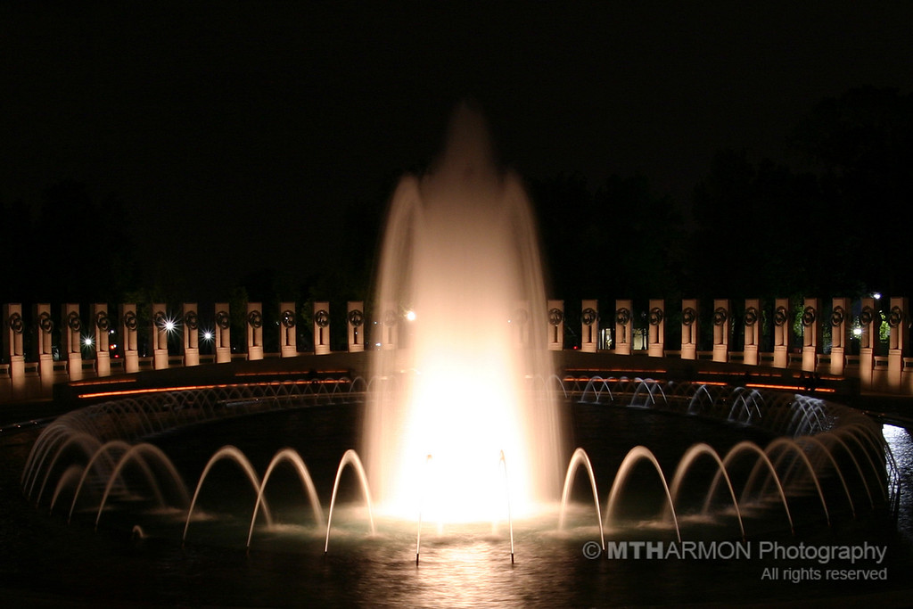 World War II Memorial at night. (Washington, DC)
