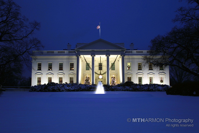 The White House shrouded in snow.  (Washington, DC)