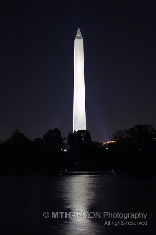 View of the Washington Monument across the tidal basin.  (Washington, DC)