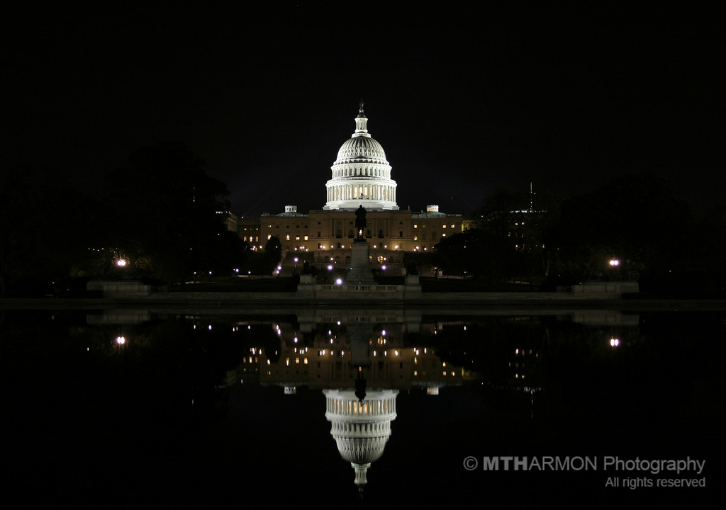 US Capitol building at night.  (Washington, DC)