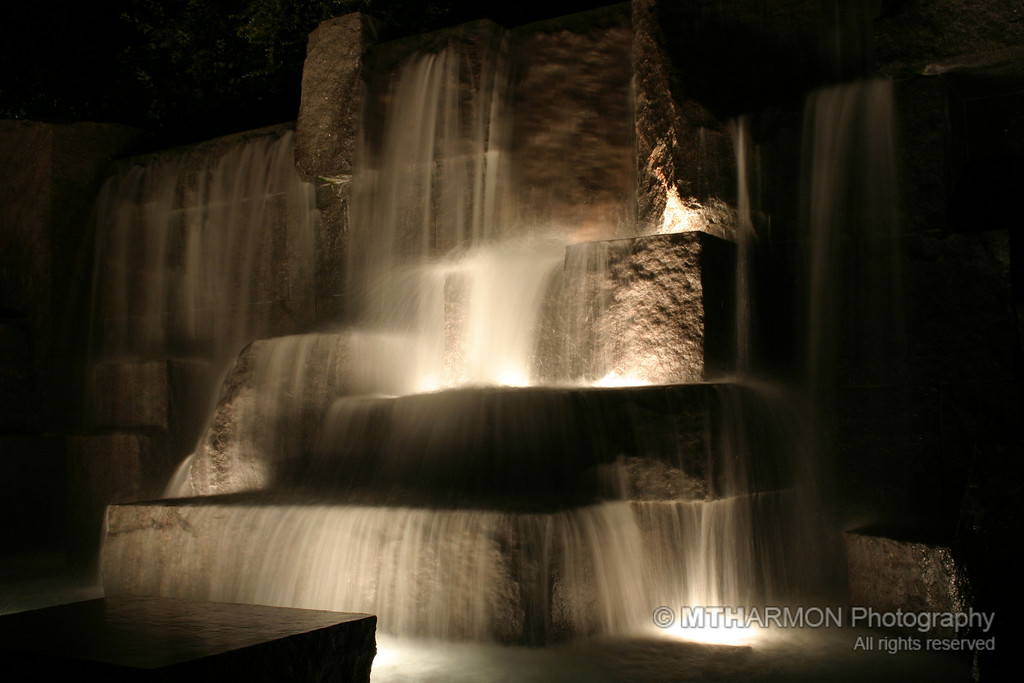 FDR Memorial at night. (Washington, DC)