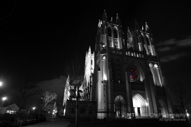 Washington National Cathedral at night.  (Washington, DC)