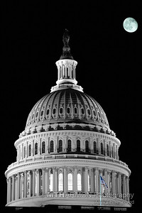 Dome of the US Capitol building at night.  (Washington, DC)