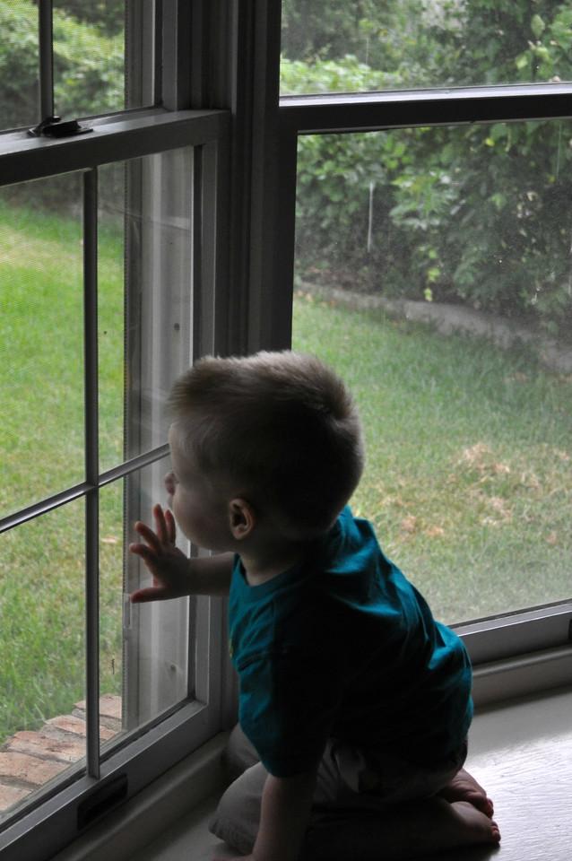 stuck indoors watching the rain