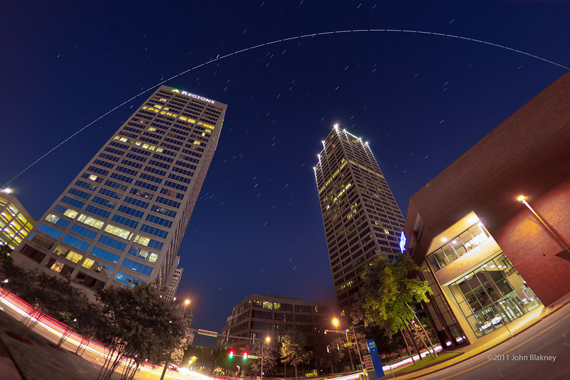 International Space Station orbit over downtown