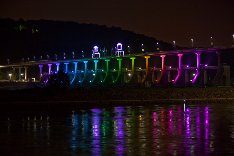 Big Dam Bridge at night