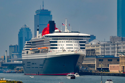 Queen Mary 2 in Boston Harbor on 4th of July