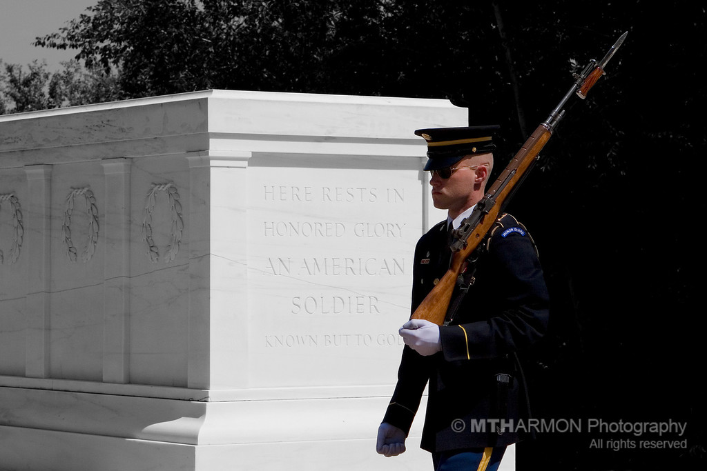 Soldier from the 3rd United States Infantry Regiment stands guard over the Tomb of the Unknowns - Arlington National Cemetery. (Arlington, VA)