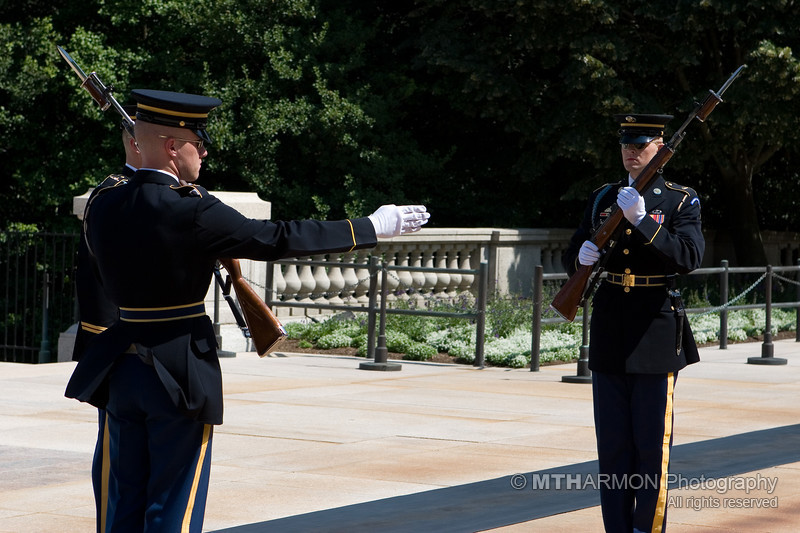 Soldiers from the 3rd United States Infantry Regiment participate in the changing of the guard ceremony at the Tomb of the Unknowns - Arlington National Cemetery. (Arlington, VA)
