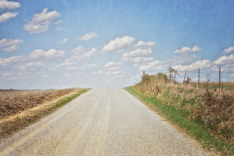 Country Road Landscapes: Gravel Country Road in Spring, Rural Carmi, White County, Illinois