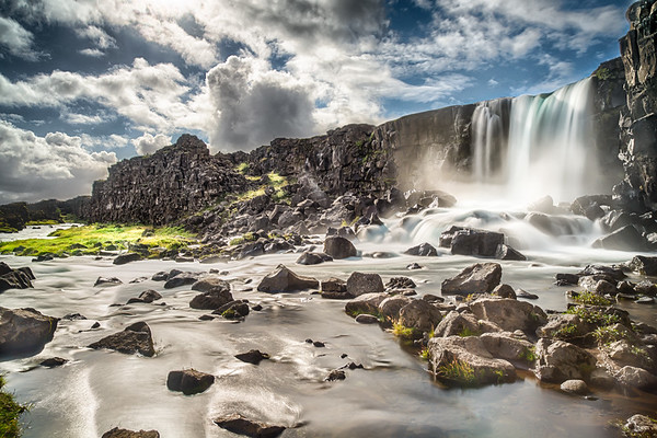 Öxarárfoss waterfall in Þingvellir National Park, Iceland