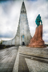 Hallgrímskirkja Lutreran Church in Reykjavik. It is said to have been designed to resemble the basalt lava flows of Iceland's landscape