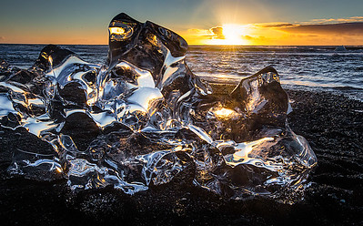 Crystal ice at sunrise
