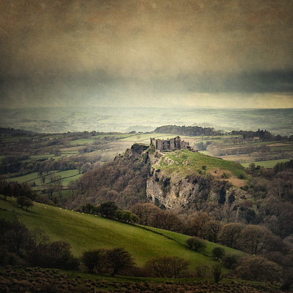 Carreg Cennen Castle from Black Mountain (Mynydd Du)Brecon Beacons National Park, Near Llandeilo, Wales #wales #castle