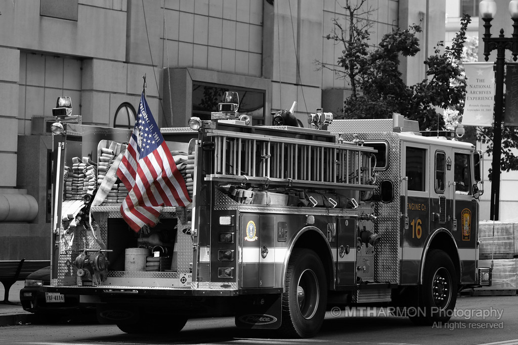 A fire truck from Engine Company 16 in downtown (Washington, DC)