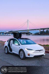 Tesla Model X HDR Bay Bridge Twilight by Greg Linhares