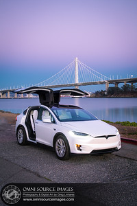 Tesla Model X Bay Bridge Twilight by Greg Linhares