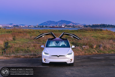 Tesla Model X Mt. Diablo Martinez Oil Refinery Twilight by Greg Linhares