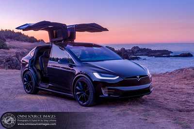 Tesla Model X Coastal Sunrise by Greg Linhares