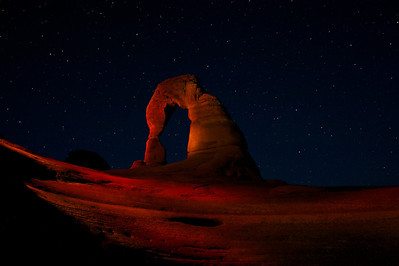 Delicate Arch - Light Painting At Night