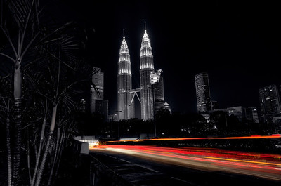 Petronas Towers - Partial B&W