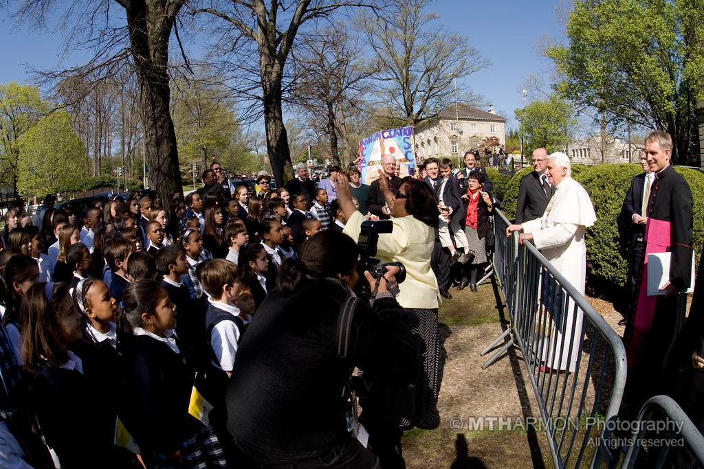 "On April 16th, 2008, 110 students from Annunciation School in Washington, DC had the honor and privilege of singing ""Happy Birthday"" to Pope Benedict XVI at the Vatican Nunciature before his departure to the White House in the morning. Led by choir director Denyce Daniels, the students sang their birthday greeting in German and English; followed by an encore performance of ""Donna Nobis Pacem"" in Latin. The students were joined by their principal, Marguerite Conley, and Monsignor Lockman of Annunciation Church.  (Washington, DC)"