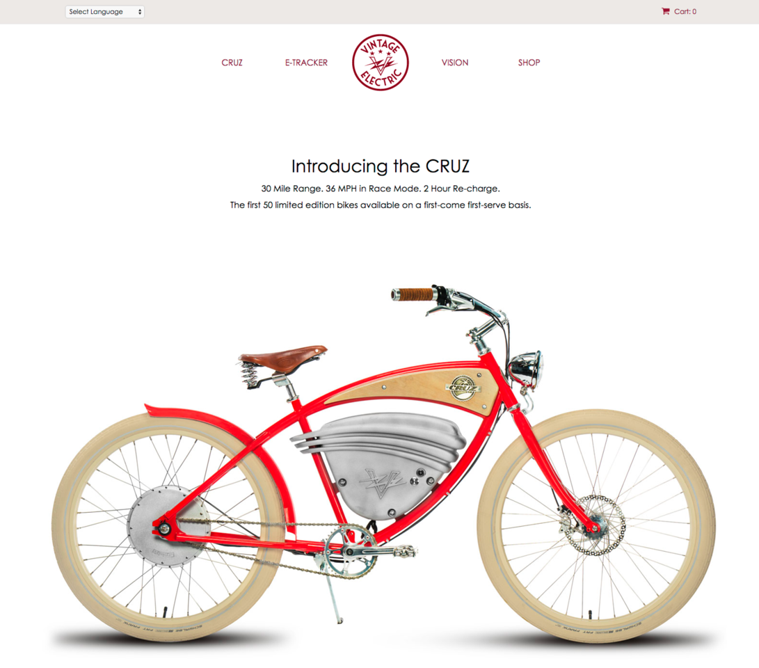 Vintage Electric Bikes Website and Marketing