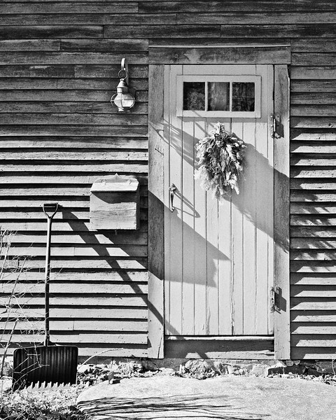 Colonial Era Architecture: Front Door of the Coffin House, circa 1678, Newbury, Essex County, Massachusetts