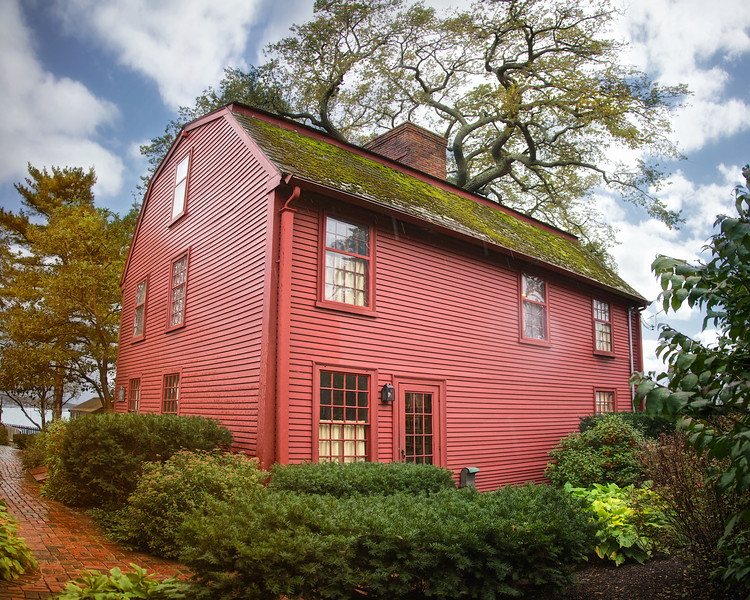 Literary Landmarks: Rear View of The Nathaniel Hawthorne House, Nathaniel Hawthorne's Birthplace, c. 1750, The House of Seven Gables National Historic Landmark District, , Salem, Essex County, Massachusetts