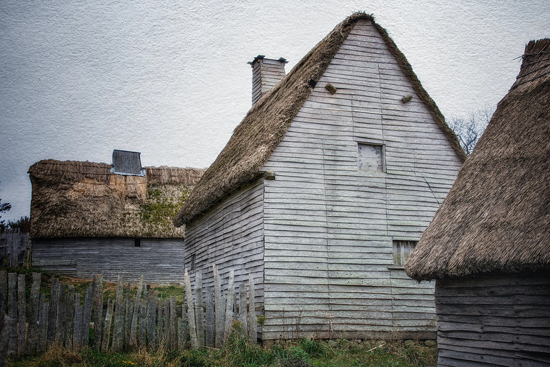 Life in Plymouth Colony: Pilgrim Houses Along Leyden Street, 1627 English Village, Plimoth Plantation, Plymouth, Massachusetts