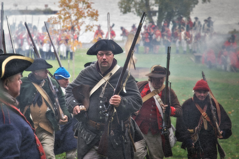 Colonial Soldiers Retreating From Advancing Redcoats. Burning of Kingston Revolutionary War Reenactment, Kingston, Ulster County, New York