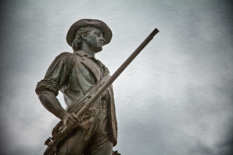 Battlefields of the American Revolution: Minute Man by David Chester French, 1875. Old North Bridge, Minute Man National Park, Concord, Middlesex County, Massachusetts